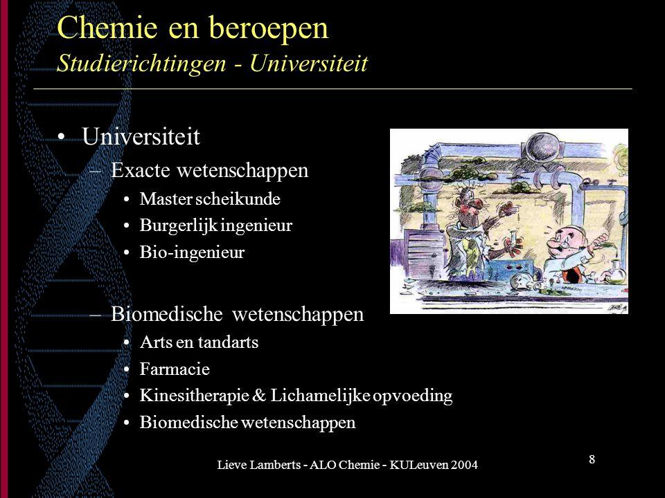 Lieve Lamberts - ALO Chemie - KULeuven 2004 8 Chemie en beroepen Studierichtingen - Universiteit Universiteit –Exacte wetenschappen Master scheikunde