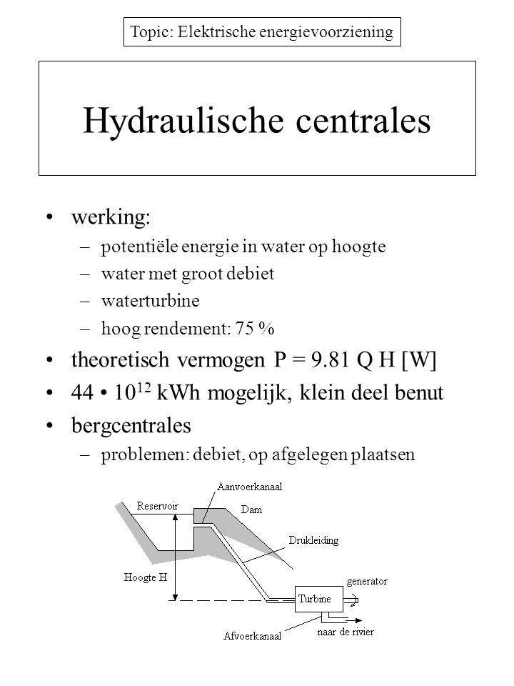 Topic: Elektrische energievoorziening Hydraulische centrales werking: –potentiële energie in water op hoogte –water met groot debiet –waterturbine –ho