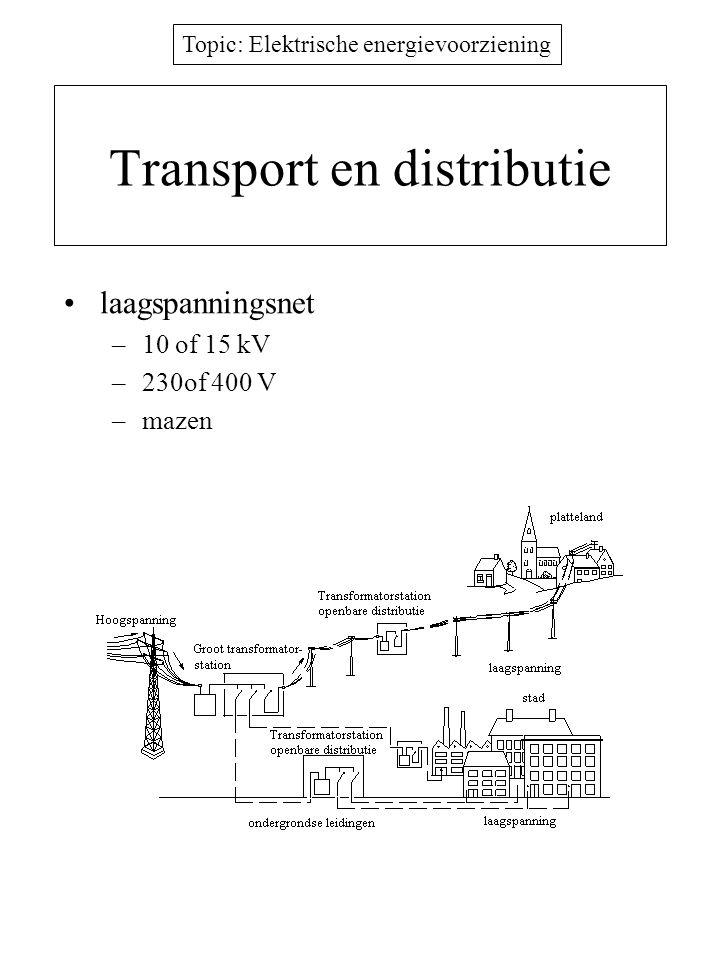 Topic: Elektrische energievoorziening Transport en distributie laagspanningsnet –10 of 15 kV –230of 400 V –mazen