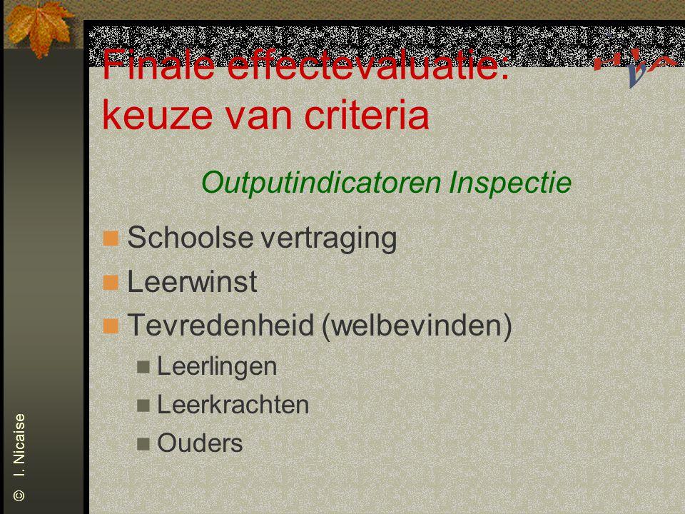 Finale effectevaluatie: keuze van criteria Outputindicatoren Inspectie Schoolse vertraging Leerwinst Tevredenheid (welbevinden) Leerlingen Leerkrachten Ouders © I.