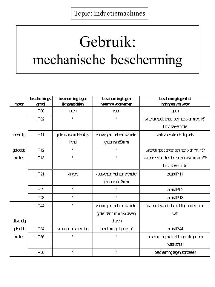 Topic: inductiemachines Gebruik: mechanische bescherming