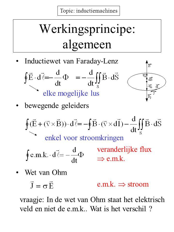 Topic: inductiemachines Werkingsprincipe: algemeen Inductiewet van Faraday-Lenz bewegende geleiders Wet van Ohm elke mogelijke lus enkel voor stroomkr