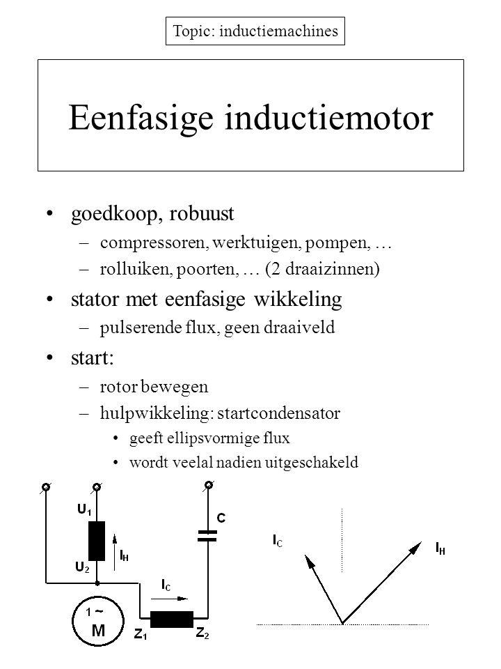 Topic: inductiemachines Eenfasige inductiemotor goedkoop, robuust –compressoren, werktuigen, pompen, … –rolluiken, poorten, … (2 draaizinnen) stator m