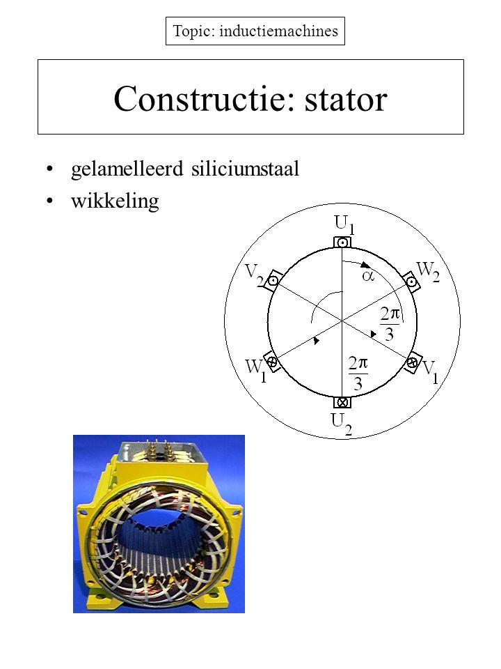 Topic: inductiemachines Constructie: stator gelamelleerd siliciumstaal wikkeling