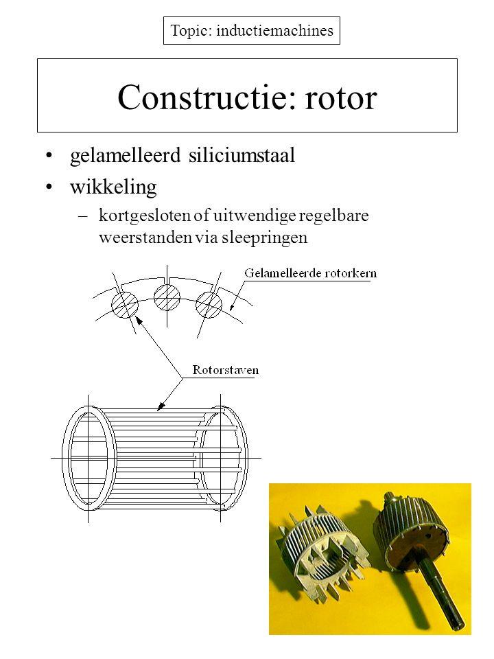 Topic: inductiemachines Constructie: rotor gelamelleerd siliciumstaal wikkeling –kortgesloten of uitwendige regelbare weerstanden via sleepringen