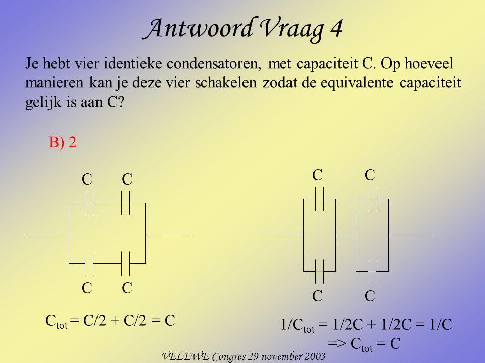 VELEWE Congres 29 november 2003 Antwoord Vraag 4 Je hebt vier identieke condensatoren, met capaciteit C.