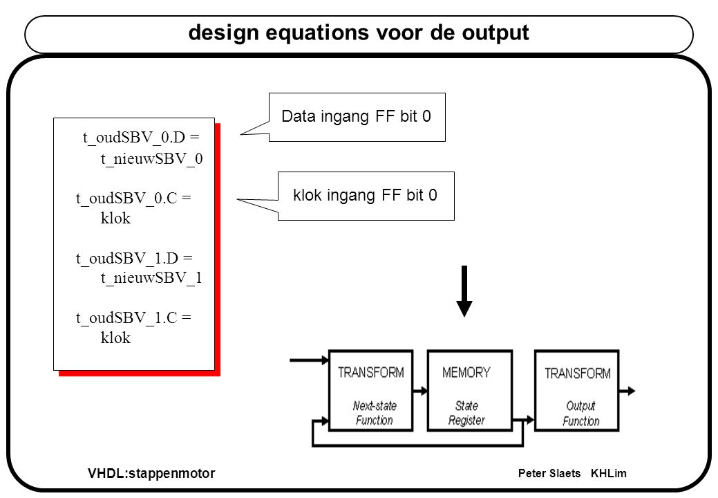 VHDL:stappenmotor Peter Slaets KHLim design equations voor de output t_oudSBV_0.D = t_nieuwSBV_0 t_oudSBV_0.C = klok t_oudSBV_1.D = t_nieuwSBV_1 t_oud