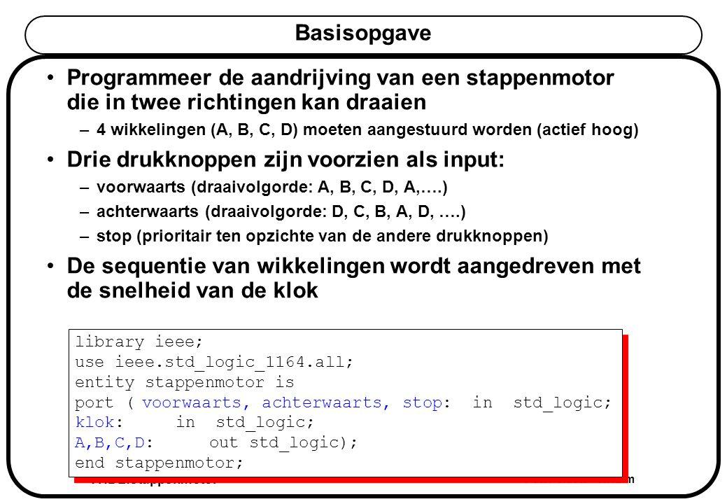 VHDL:stappenmotor Peter Slaets KHLim Basisopgave Programmeer de aandrijving van een stappenmotor die in twee richtingen kan draaien –4 wikkelingen (A, B, C, D) moeten aangestuurd worden (actief hoog) Drie drukknoppen zijn voorzien als input: –voorwaarts (draaivolgorde: A, B, C, D, A,….) –achterwaarts (draaivolgorde: D, C, B, A, D, ….) –stop (prioritair ten opzichte van de andere drukknoppen) De sequentie van wikkelingen wordt aangedreven met de snelheid van de klok library ieee; use ieee.std_logic_1164.all; entity stappenmotor is port (voorwaarts, achterwaarts, stop: in std_logic; klok: in std_logic; A,B,C,D: out std_logic); end stappenmotor; library ieee; use ieee.std_logic_1164.all; entity stappenmotor is port (voorwaarts, achterwaarts, stop: in std_logic; klok: in std_logic; A,B,C,D: out std_logic); end stappenmotor;