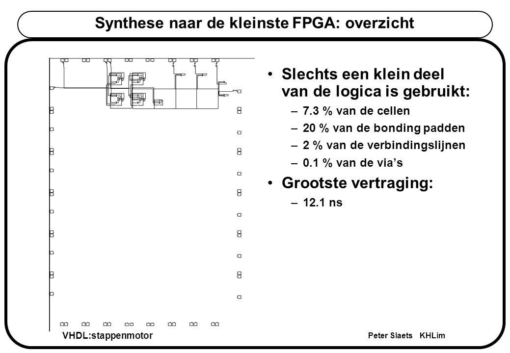 VHDL:stappenmotor Peter Slaets KHLim Synthese naar de kleinste FPGA: overzicht Slechts een klein deel van de logica is gebruikt: –7.3 % van de cellen –20 % van de bonding padden –2 % van de verbindingslijnen –0.1 % van de via's Grootste vertraging: –12.1 ns