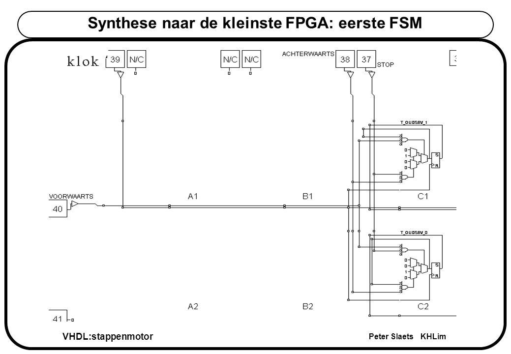 VHDL:stappenmotor Peter Slaets KHLim Synthese naar de kleinste FPGA: eerste FSM