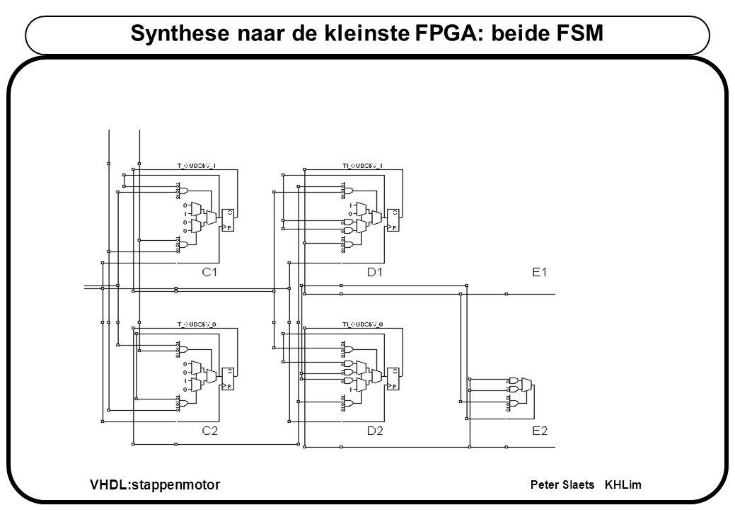 VHDL:stappenmotor Peter Slaets KHLim Synthese naar de kleinste FPGA: beide FSM