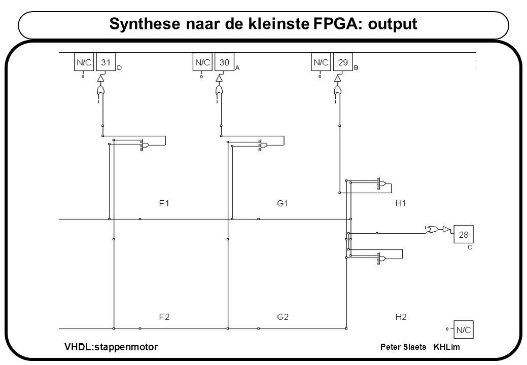 VHDL:stappenmotor Peter Slaets KHLim Synthese naar de kleinste FPGA: output