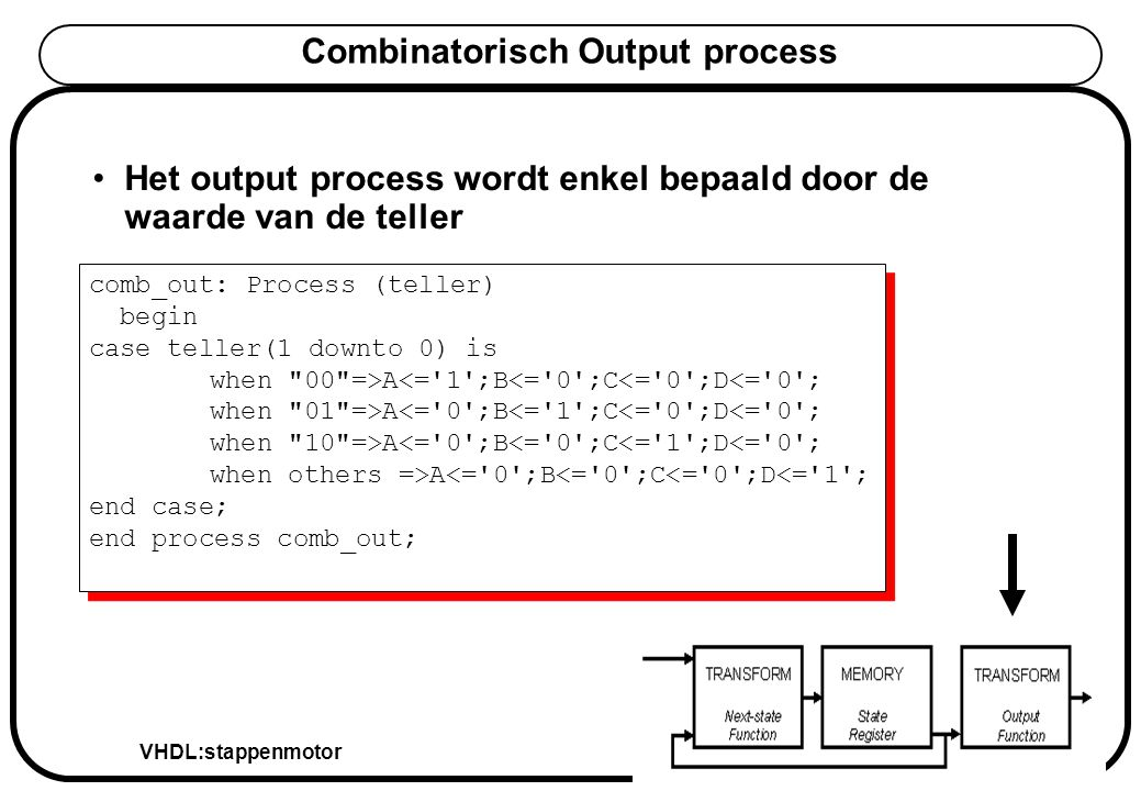 VHDL:stappenmotor Peter Slaets KHLim Combinatorisch Output process Het output process wordt enkel bepaald door de waarde van de teller comb_out: Process (teller) begin case teller(1 downto 0) is when 00 =>A<= 1 ;B<= 0 ;C<= 0 ;D<= 0 ; when 01 =>A<= 0 ;B<= 1 ;C<= 0 ;D<= 0 ; when 10 =>A<= 0 ;B<= 0 ;C<= 1 ;D<= 0 ; when others =>A<= 0 ;B<= 0 ;C<= 0 ;D<= 1 ; end case; end process comb_out; comb_out: Process (teller) begin case teller(1 downto 0) is when 00 =>A<= 1 ;B<= 0 ;C<= 0 ;D<= 0 ; when 01 =>A<= 0 ;B<= 1 ;C<= 0 ;D<= 0 ; when 10 =>A<= 0 ;B<= 0 ;C<= 1 ;D<= 0 ; when others =>A<= 0 ;B<= 0 ;C<= 0 ;D<= 1 ; end case; end process comb_out;