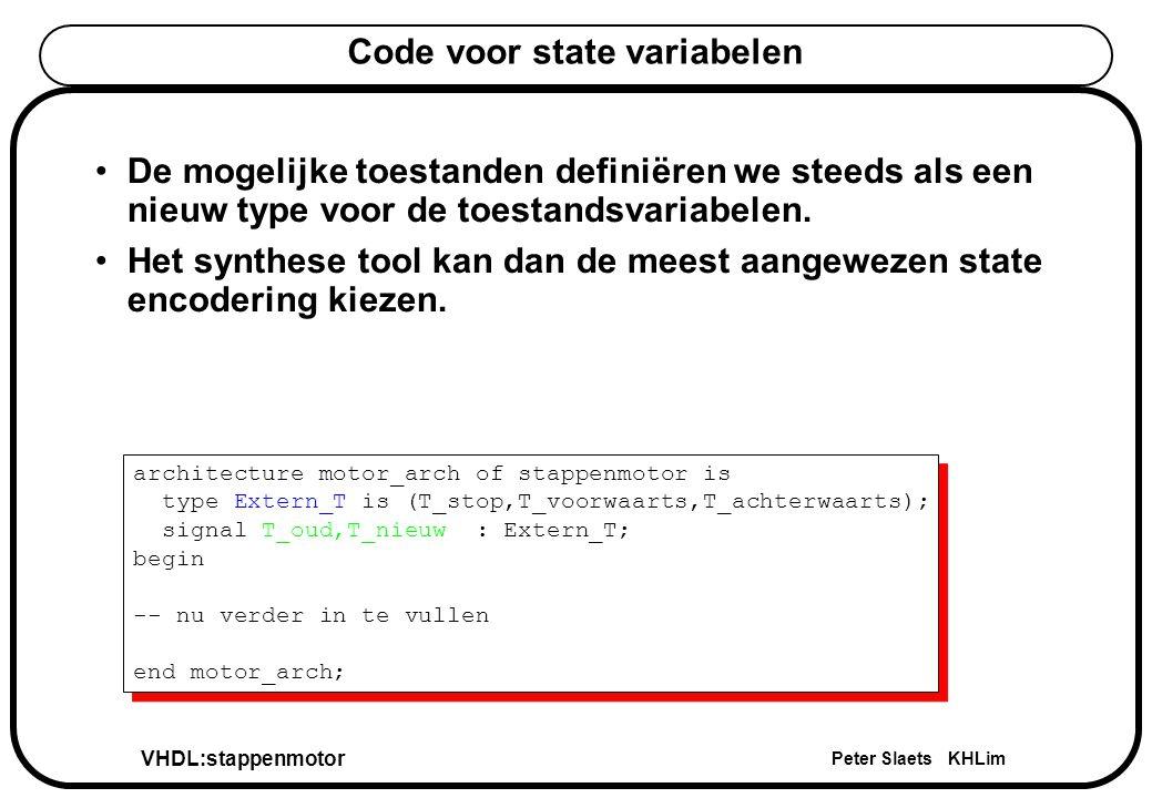 VHDL:stappenmotor Peter Slaets KHLim Combinatorisch process van de externe FSM comb_T : process(T_oud,CCDgo,einddetectie1,einddetectie2) begin case T_oud is when T_wacht=>if (CCDgo = 1 ) then T_nieuw <= T_naarstart; else T_nieuw <= T_wacht; end if; when T_naarstart=>if (einddetectie1 = 1 ) then T_nieuw <= T_naareinde; else T_nieuw <= T_naarstart; end if; when others=>if (einddetectie2 = 1 ) then T_nieuw <= T_wacht; else T_nieuw <= T_naareinde; end if; end case; end process comb_T; comb_T : process(T_oud,CCDgo,einddetectie1,einddetectie2) begin case T_oud is when T_wacht=>if (CCDgo = 1 ) then T_nieuw <= T_naarstart; else T_nieuw <= T_wacht; end if; when T_naarstart=>if (einddetectie1 = 1 ) then T_nieuw <= T_naareinde; else T_nieuw <= T_naarstart; end if; when others=>if (einddetectie2 = 1 ) then T_nieuw <= T_wacht; else T_nieuw <= T_naareinde; end if; end case; end process comb_T;