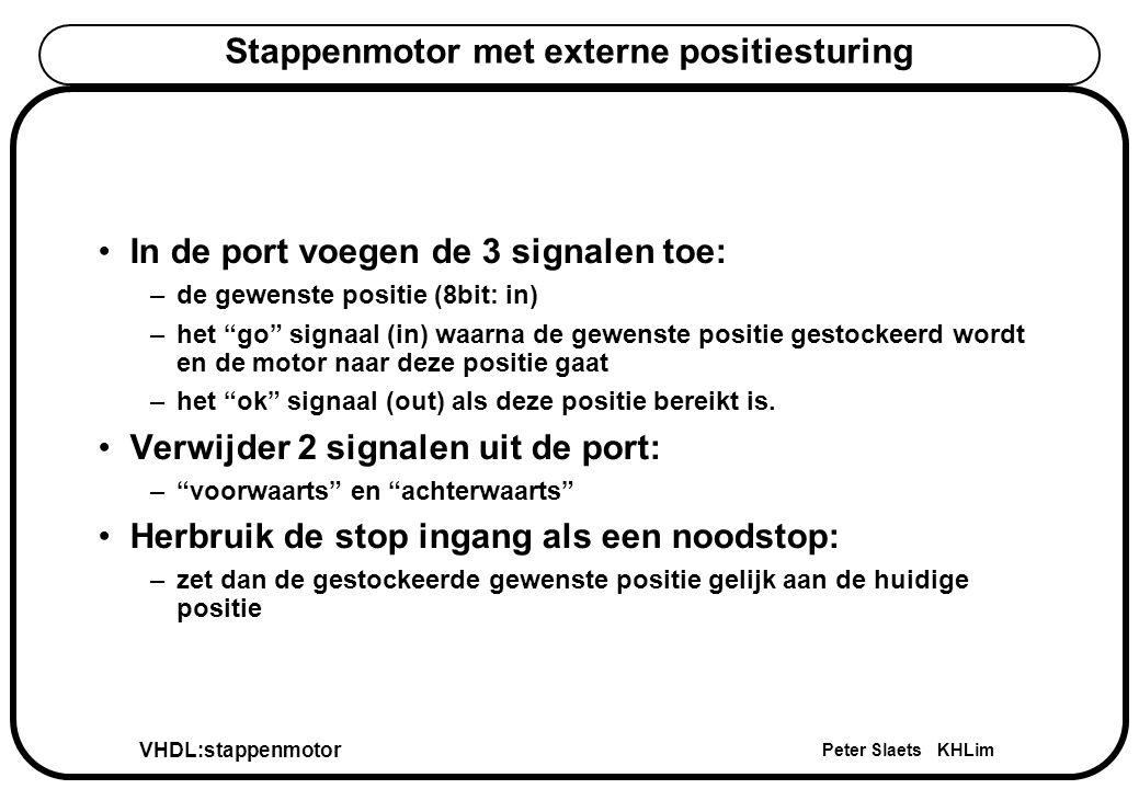 VHDL:stappenmotor Peter Slaets KHLim Stappenmotor met externe positiesturing In de port voegen de 3 signalen toe: –de gewenste positie (8bit: in) –het go signaal (in) waarna de gewenste positie gestockeerd wordt en de motor naar deze positie gaat –het ok signaal (out) als deze positie bereikt is.