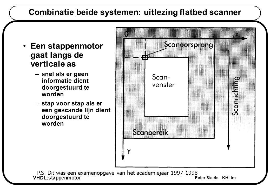 VHDL:stappenmotor Peter Slaets KHLim Combinatie beide systemen: uitlezing flatbed scanner Een stappenmotor gaat langs de verticale as –snel als er geen informatie dient doorgestuurd te worden –stap voor stap als er een gescande lijn dient doorgestuurd te worden P.S.