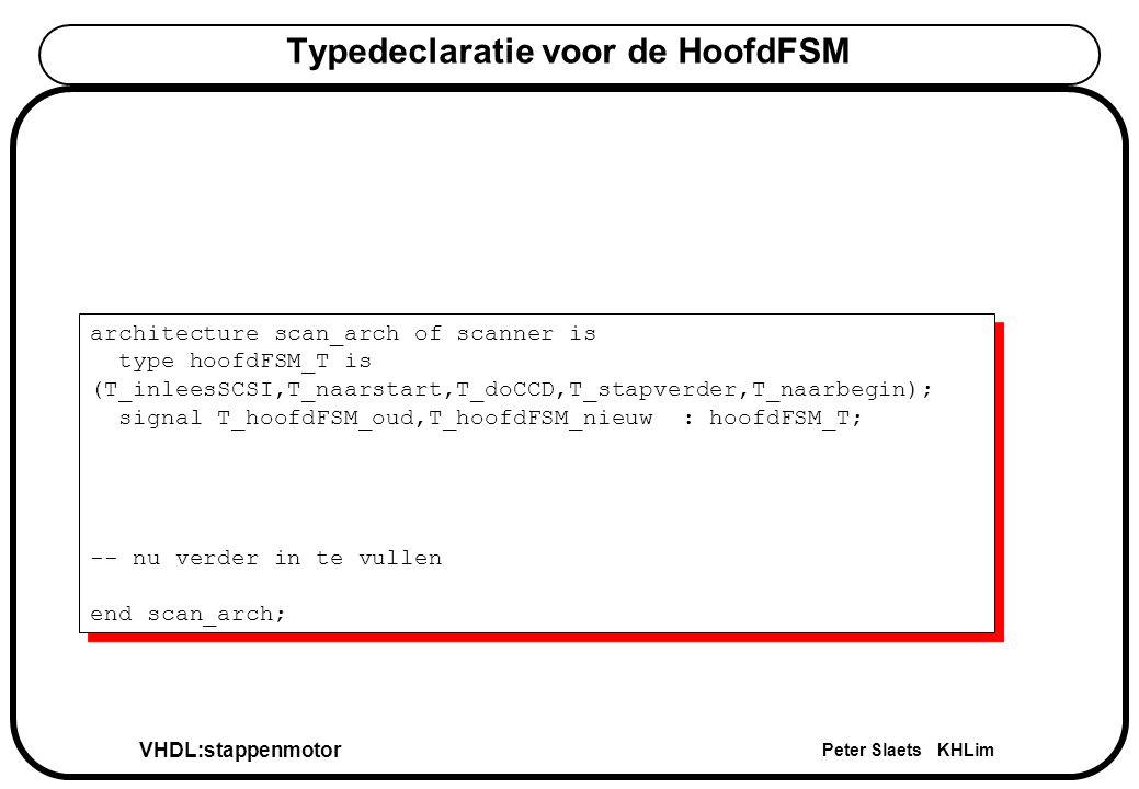 VHDL:stappenmotor Peter Slaets KHLim Typedeclaratie voor de HoofdFSM architecture scan_arch of scanner is type hoofdFSM_T is (T_inleesSCSI,T_naarstart,T_doCCD,T_stapverder,T_naarbegin); signal T_hoofdFSM_oud,T_hoofdFSM_nieuw : hoofdFSM_T; -- nu verder in te vullen end scan_arch; architecture scan_arch of scanner is type hoofdFSM_T is (T_inleesSCSI,T_naarstart,T_doCCD,T_stapverder,T_naarbegin); signal T_hoofdFSM_oud,T_hoofdFSM_nieuw : hoofdFSM_T; -- nu verder in te vullen end scan_arch;