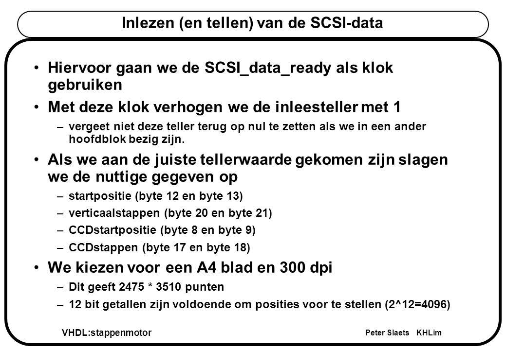 VHDL:stappenmotor Peter Slaets KHLim Inlezen (en tellen) van de SCSI-data Hiervoor gaan we de SCSI_data_ready als klok gebruiken Met deze klok verhogen we de inleesteller met 1 –vergeet niet deze teller terug op nul te zetten als we in een ander hoofdblok bezig zijn.
