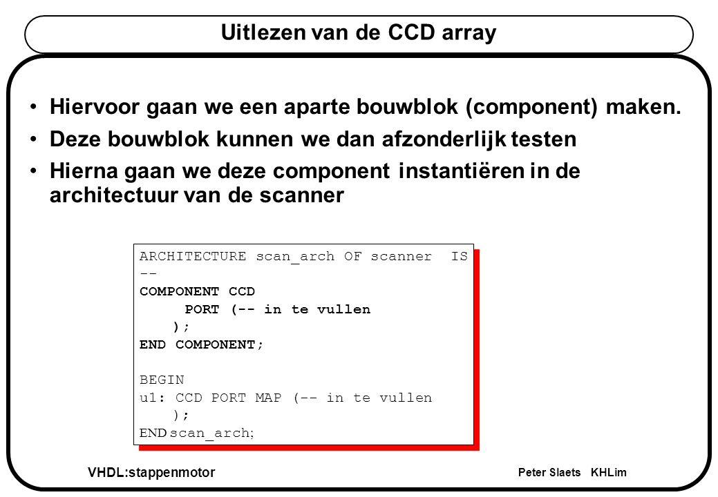VHDL:stappenmotor Peter Slaets KHLim Uitlezen van de CCD array Hiervoor gaan we een aparte bouwblok (component) maken.