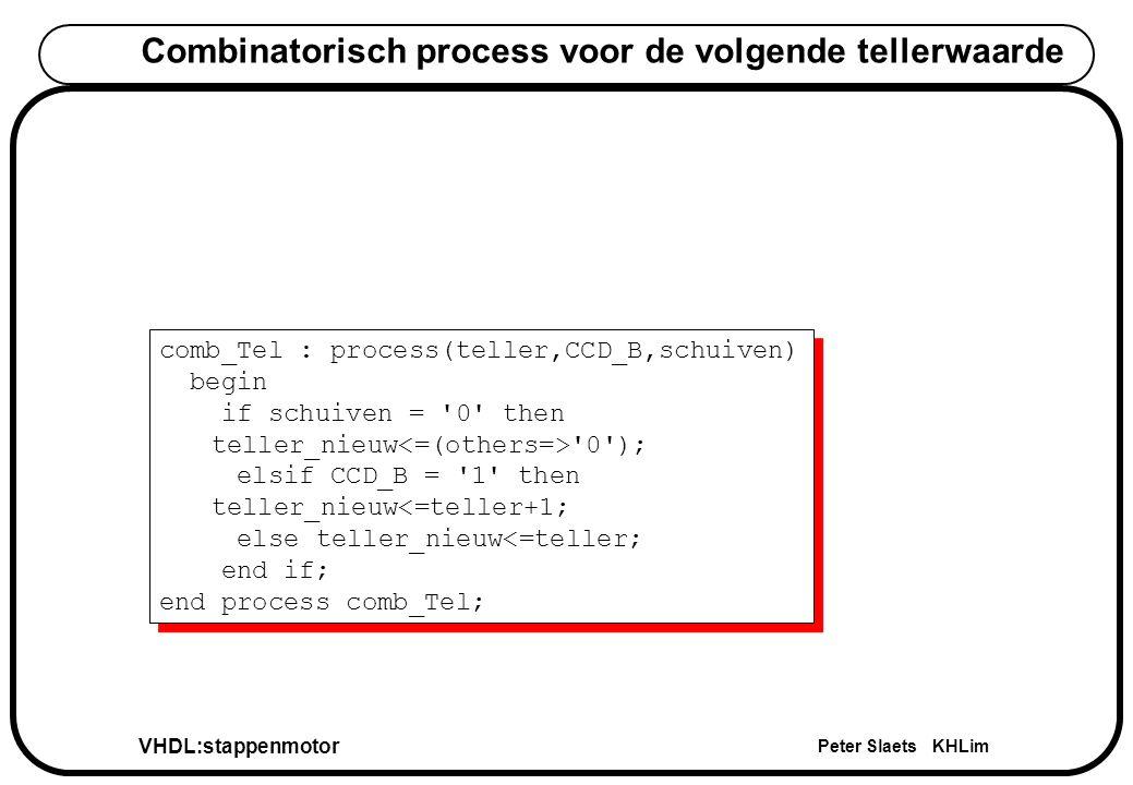 VHDL:stappenmotor Peter Slaets KHLim Combinatorisch process voor de volgende tellerwaarde comb_Tel : process(teller,CCD_B,schuiven) begin if schuiven = 0 then teller_nieuw 0 ); elsif CCD_B = 1 then teller_nieuw<=teller+1; else teller_nieuw<=teller; end if; end process comb_Tel; comb_Tel : process(teller,CCD_B,schuiven) begin if schuiven = 0 then teller_nieuw 0 ); elsif CCD_B = 1 then teller_nieuw<=teller+1; else teller_nieuw<=teller; end if; end process comb_Tel;