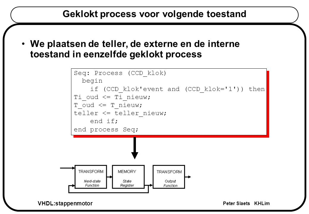 VHDL:stappenmotor Peter Slaets KHLim Geklokt process voor volgende toestand Seq: Process (CCD_klok) begin if (CCD_klok'event and (CCD_klok='1')) then