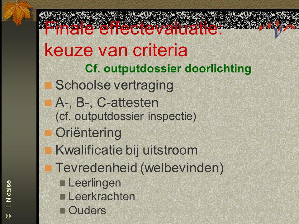 Finale effectevaluatie: keuze van criteria Cf. outputdossier doorlichting Schoolse vertraging A-, B-, C-attesten (cf. outputdossier inspectie) Oriënte