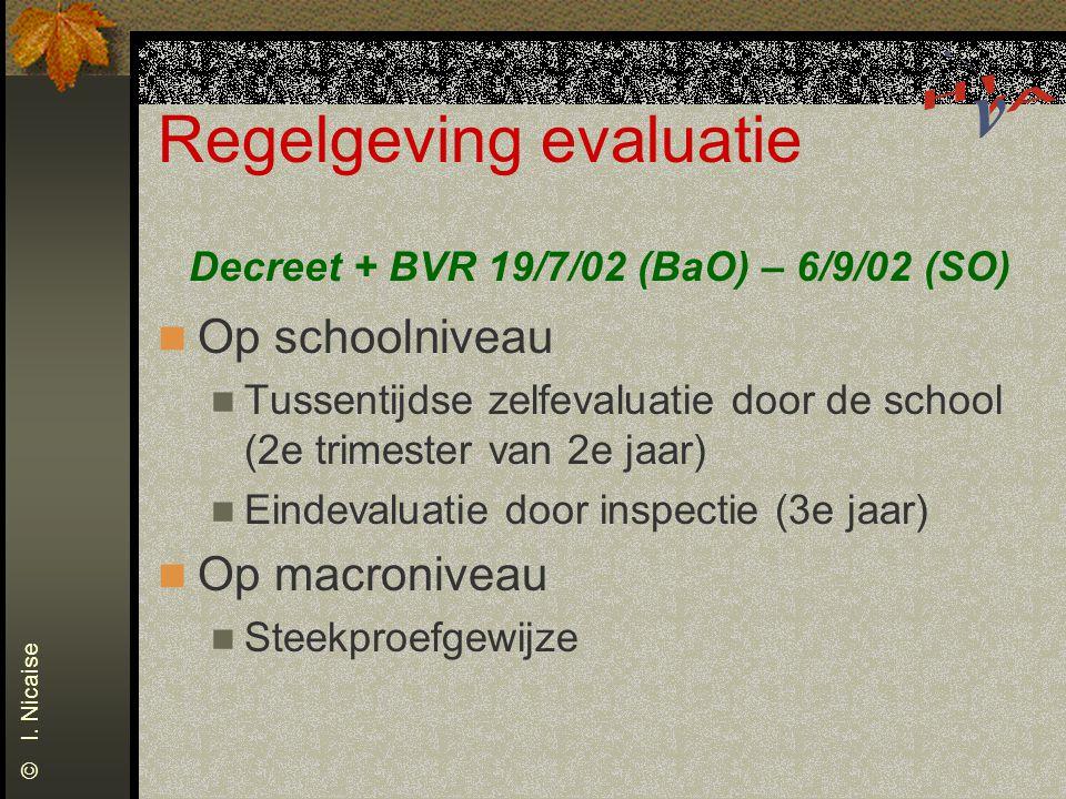 Regelgeving evaluatie Decreet + BVR 19/7/02 (BaO) – 6/9/02 (SO) Op schoolniveau Tussentijdse zelfevaluatie door de school (2e trimester van 2e jaar) E