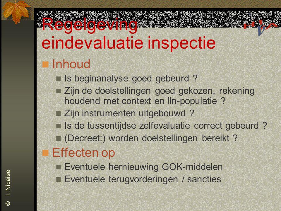 Regelgeving eindevaluatie inspectie Inhoud Is beginanalyse goed gebeurd ? Zijn de doelstellingen goed gekozen, rekening houdend met context en lln-pop