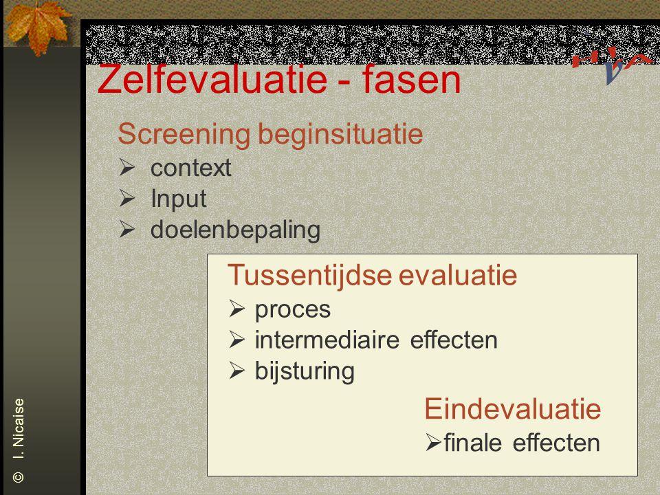Zelfevaluatie - fasen © I. Nicaise Screening beginsituatie  context  Input  doelenbepaling Tussentijdse evaluatie  proces  intermediaire effecten