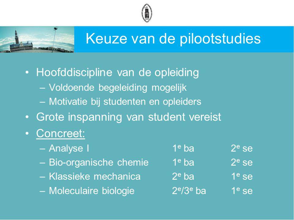 Keuze van de pilootstudies Hoofddiscipline van de opleiding –Voldoende begeleiding mogelijk –Motivatie bij studenten en opleiders Grote inspanning van student vereist Concreet: –Analyse I1 e ba2 e se –Bio-organische chemie1 e ba2 e se –Klassieke mechanica2 e ba1 e se –Moleculaire biologie2 e /3 e ba1 e se