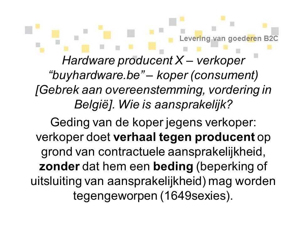 """Levering van goederen B2C Hardware producent X – verkoper """"buyhardware.be"""" – koper (consument) [Gebrek aan overeenstemming, vordering in België]. Wie"""