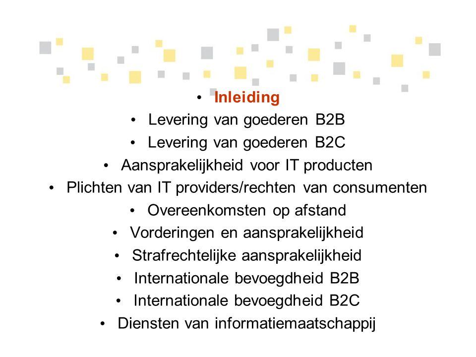 Levering van goederen B2C bescherming van (Belgische) consumenten Speciale regels voor bescherming van (Belgische) consumenten: 1649quater: de verkoper is aansprakelijk voor elk gebrek aan overeenstemming van de zaak dat zich manifesteert binnen 2 jaar vanaf de levering; de vordering verjaart binnen 1 jaar vanaf de vaststelling van het gebrek (maar niet vóór het verstrijken van het tijdstip van 2 jaar).