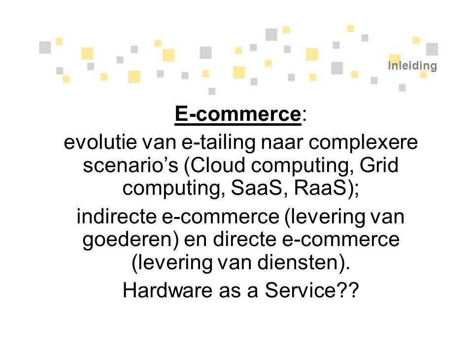 Inleiding E-commerce: evolutie van e-tailing naar complexere scenario's (Cloud computing, Grid computing, SaaS, RaaS); indirecte e-commerce (levering