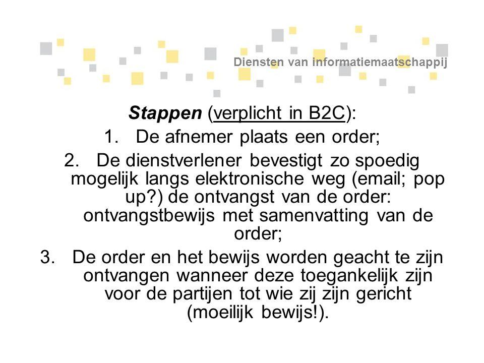 Diensten van informatiemaatschappij Stappen (verplicht in B2C): 1.De afnemer plaats een order; 2.De dienstverlener bevestigt zo spoedig mogelijk langs