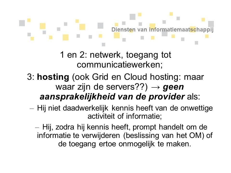 Diensten van informatiemaatschappij 1 en 2: netwerk, toegang tot communicatiewerken; 3: hosting (ook Grid en Cloud hosting: maar waar zijn de servers?