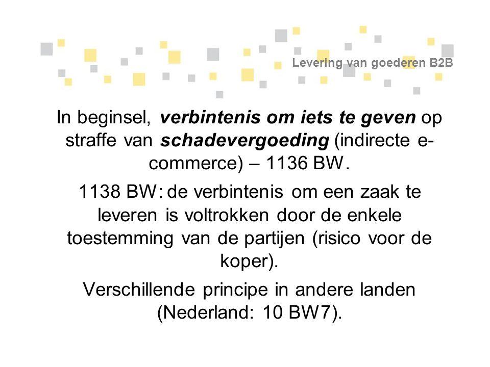 Internationale bevoegdheid B2B Oplossing: 1.Rechtsleer (heel complex!): link tussen bevoegde rechtbank en toepasselijk recht – de rechter van de plaats van de zetel (= plaats van de uitvoering van de verbintenis) van de provider is bevoegd (België); 2.Algemene regels: eiser/verweerder.
