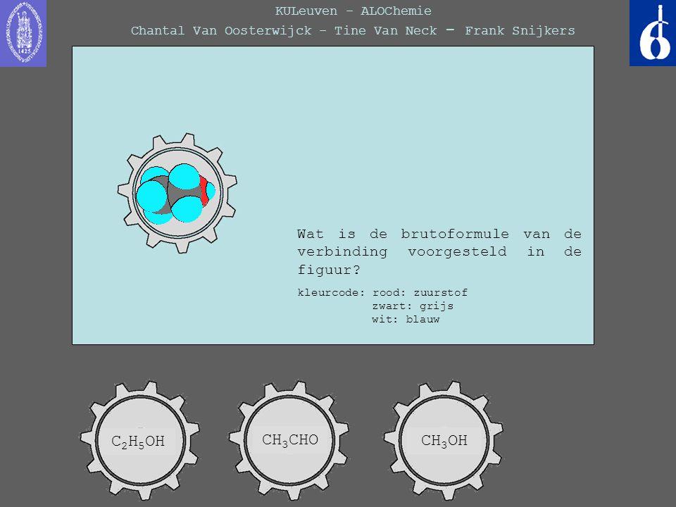 KULeuven - ALOChemie Chantal Van Oosterwijck - Tine Van Neck - Frank Snijkers Wat is de brutoformule van de verbinding voorgesteld in de figuur? kleur