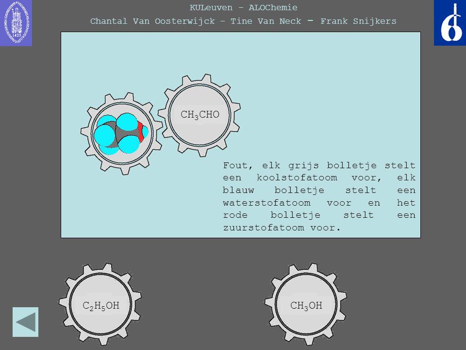 KULeuven - ALOChemie Chantal Van Oosterwijck - Tine Van Neck - Frank Snijkers Fout, elk grijs bolletje stelt een koolstofatoom voor, elk blauw bolletj