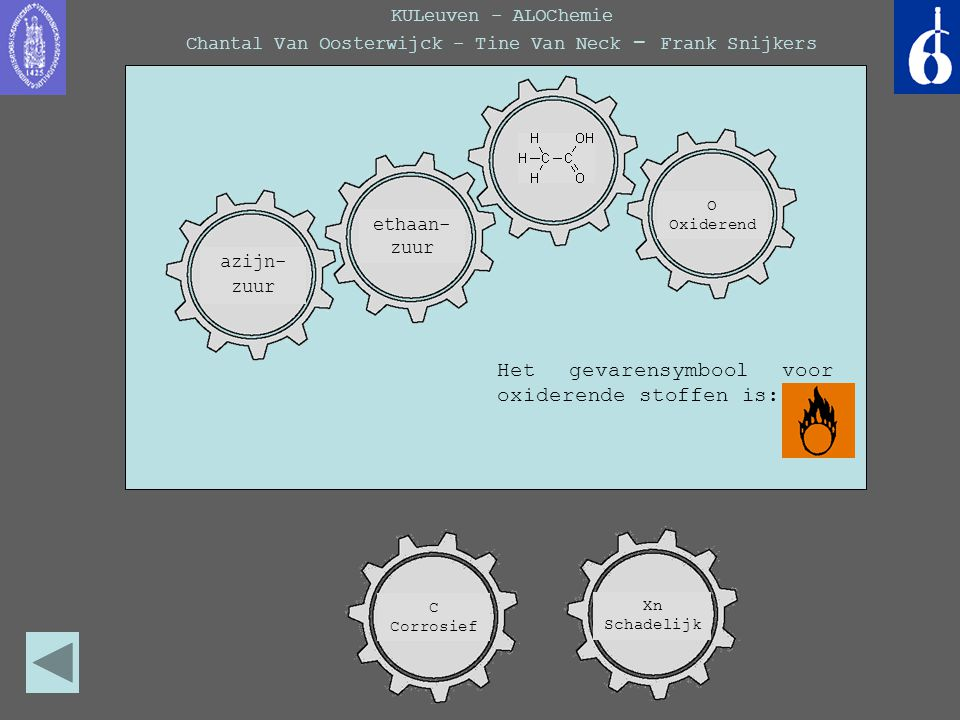 KULeuven - ALOChemie Chantal Van Oosterwijck - Tine Van Neck - Frank Snijkers Het gevarensymbool voor oxiderende stoffen is: azijn- zuur ethaan- zuur