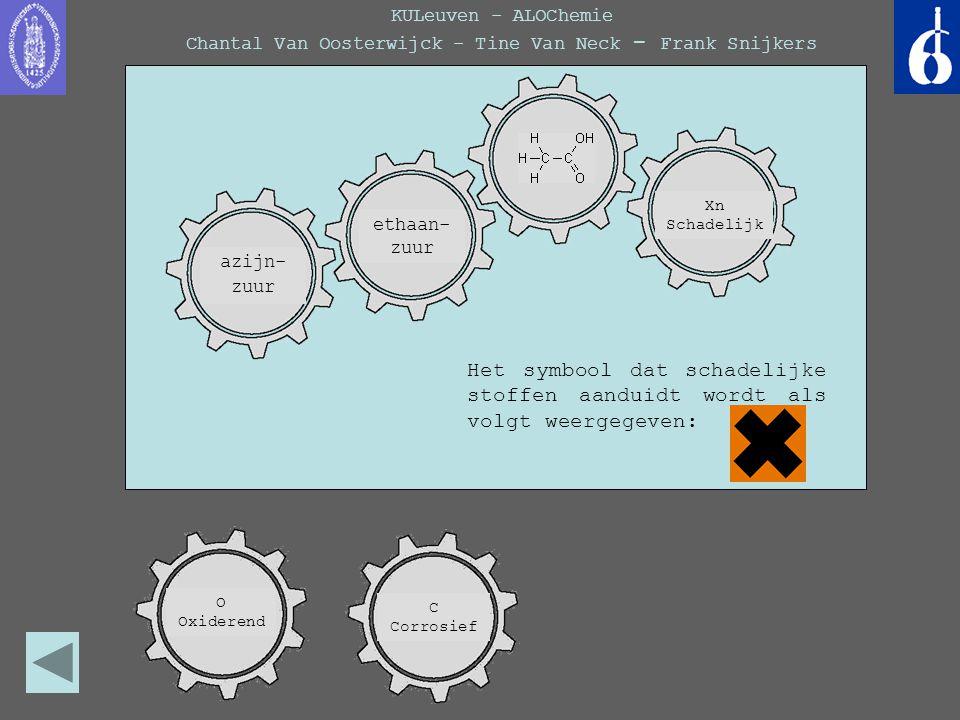 KULeuven - ALOChemie Chantal Van Oosterwijck - Tine Van Neck - Frank Snijkers Het symbool dat schadelijke stoffen aanduidt wordt als volgt weergegeven