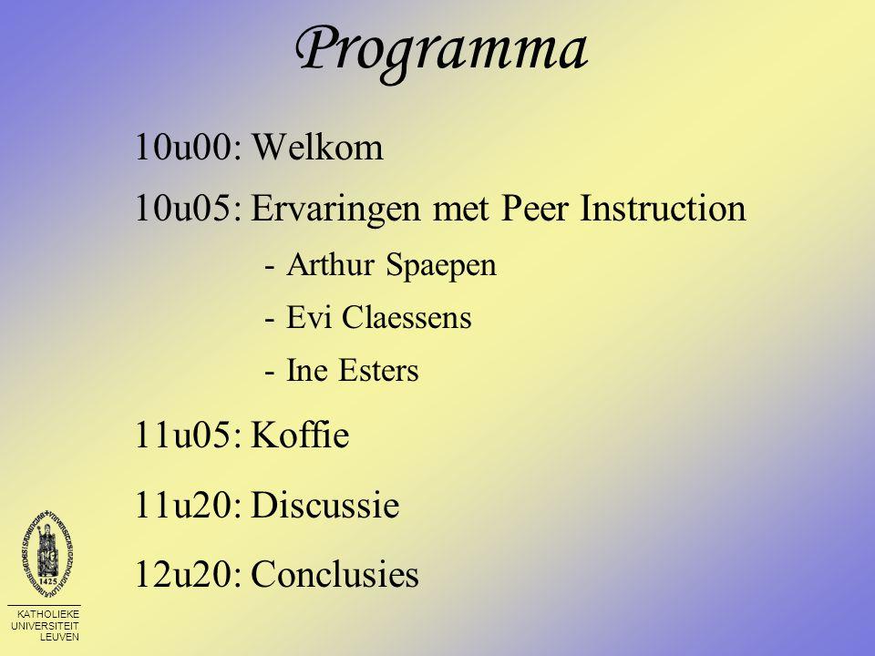 KATHOLIEKE UNIVERSITEIT LEUVEN Welkom Oorsprong Peer Instruction (PI) - Prof.