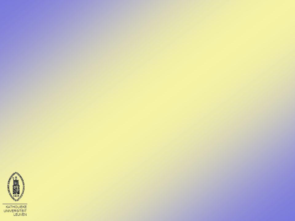 KATHOLIEKE UNIVERSITEIT LEUVEN Examen Soort vragen op het examen - Geen grote wijzigingen in vergelijking met vroeger (vóór PI) Bonuspunten worden in rekening gebracht