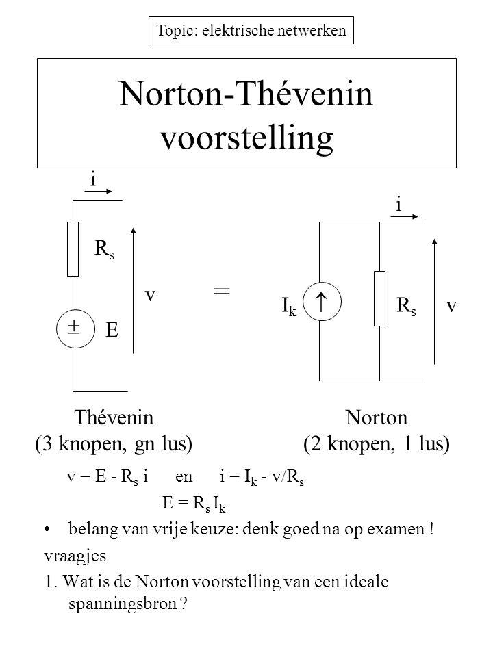 Topic: elektrische netwerken Norton-Thévenin voorstelling v = E - R s i en i = I k - v/R s E = R s I k belang van vrije keuze: denk goed na op examen