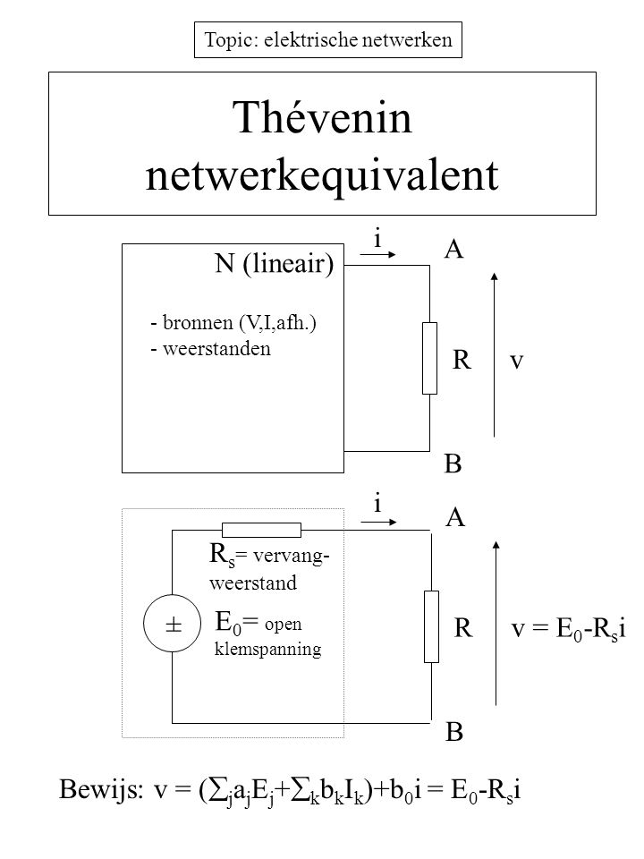 Topic: elektrische netwerken Thévenin netwerkequivalent Rv i N (lineair) A B - bronnen (V,I,afh.) - weerstanden Rv = E 0 -R s i i A B ± E 0 = open kle