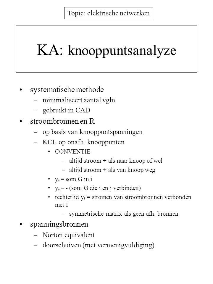 Topic: elektrische netwerken KA: knooppuntsanalyze systematische methode –minimaliseert aantal vgln –gebruikt in CAD stroombronnen en R –op basis van