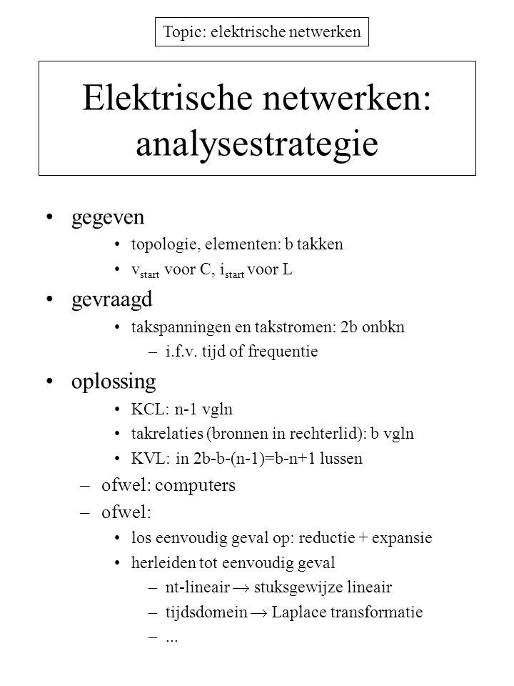 Topic: elektrische netwerken Norton netwerkequivalent Rv i N (lineair) A B - bronnen (V,I,afh.) - weerstanden Rv i=I 0 -G s v A B  I 0 = kort- sluitstroom R s = vervang- weerstand Bewijs: v = E 0 -R s i (Thevenin)  v/R s = E 0 /R s -I en identifieer de termen