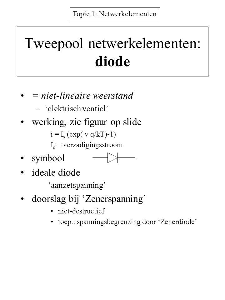 Topic 1: Netwerkelementen Tweepool netwerkelementen: diode = niet-lineaire weerstand –'elektrisch ventiel' werking, zie figuur op slide i = I s (exp(