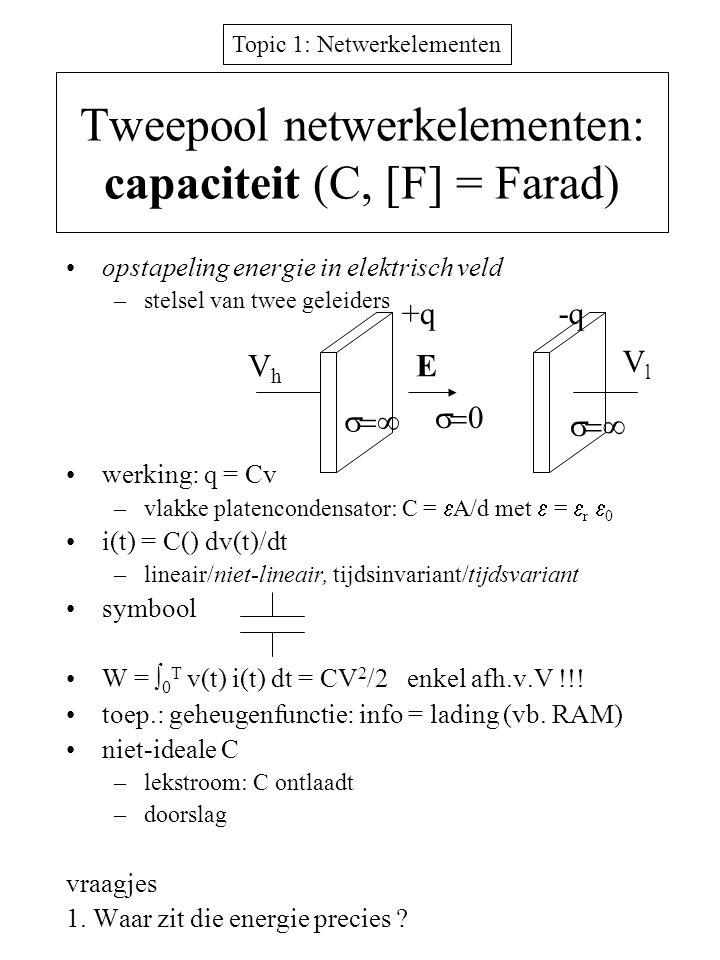 Topic 1: Netwerkelementen Tweepool netwerkelementen: capaciteit (C, [F] = Farad) opstapeling energie in elektrisch veld –stelsel van twee geleiders we