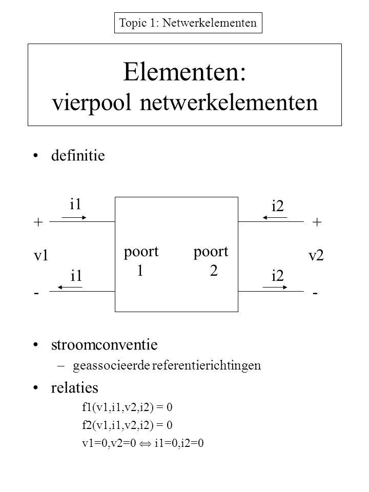 Topic 1: Netwerkelementen Elementen: vierpool netwerkelementen definitie stroomconventie –geassocieerde referentierichtingen relaties f1(v1,i1,v2,i2)