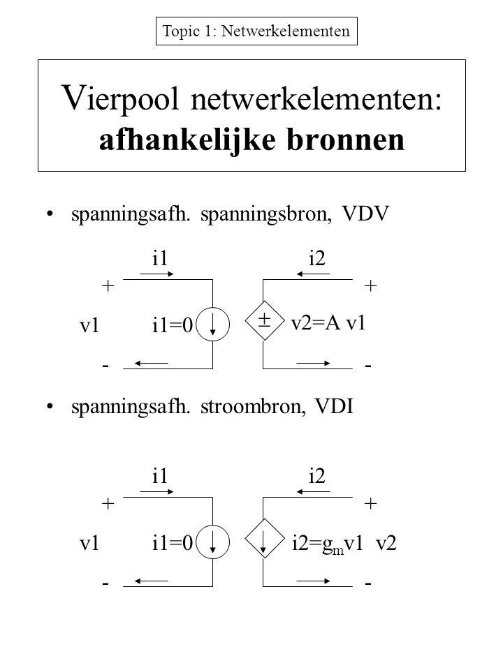 Topic 1: Netwerkelementen V ierpool netwerkelementen: afhankelijke bronnen spanningsafh. spanningsbron, VDV spanningsafh. stroombron, VDI + -- + v1 i1